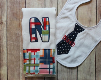 Baby Boy Burp Cloth Set - Monogrammed Burp Cloth Tie Bib, Madras Baby Gift, Personalized Baby Boy Gift, Nautical Baby Gift, Baby Shower