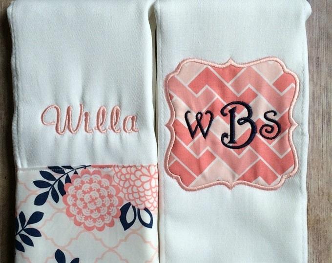 Monogrammed Burp Cloth Set, Baby Girl Burp Cloth, Personalized Burp, Personalized Baby Girl, Flower Burp Cloth Set, Pink Navy, Monogram Baby