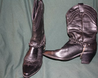 Vintage Dingo Cowboy Cowgirl Boots Black boots 1980's Western boots