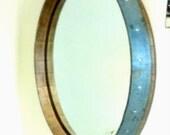 Wine Barrel Head Wall Mirror