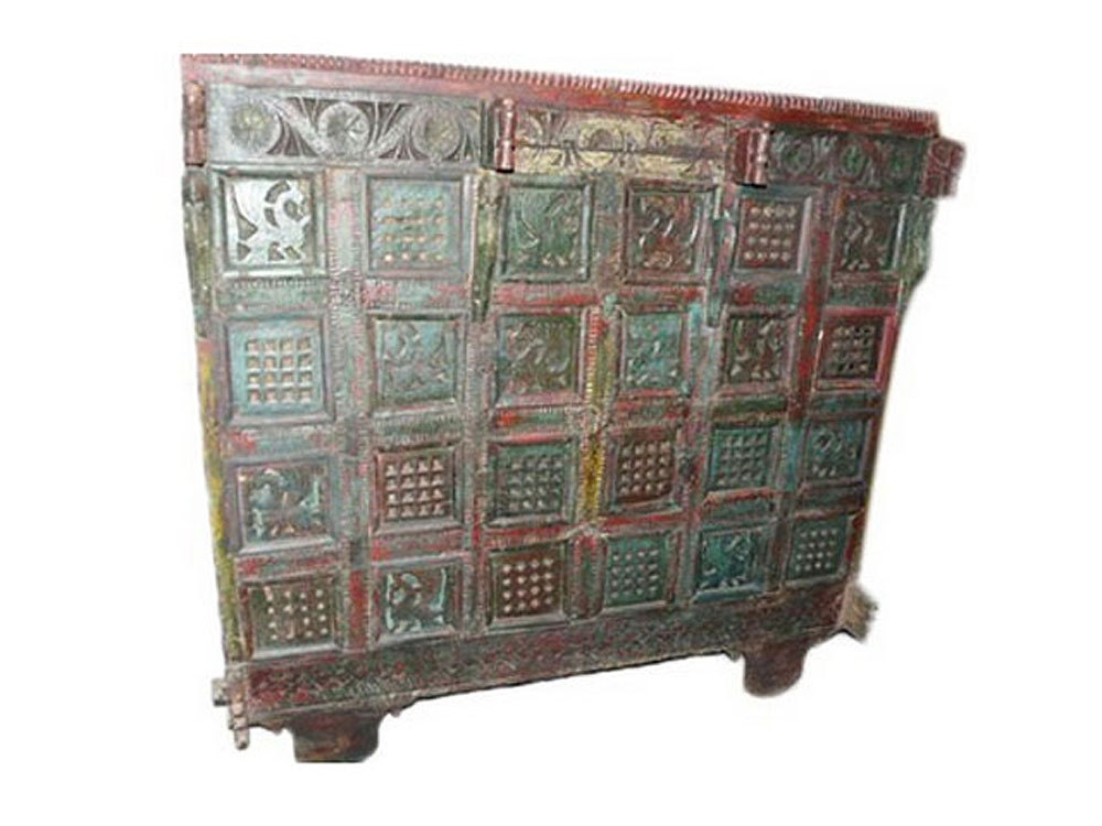 Antique indian sideboard dresser buffet red green patina for Sideboard indien
