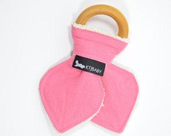 Organic Wooden Teething Ring   Pink Teether   Pink Organic Baby Teether   Baby Girl Teether   Girl Organic Baby Gift