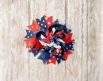 OTT Patriotic Twisted Boutique Bow July 4th Patriotic Stars Red White Blue Boutique Korker Bow Big 5-6 inches Hair Bow Clip
