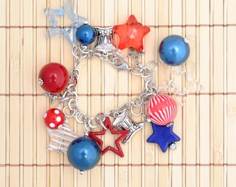 Patriotic Red White Blue Charm Bracelet Stars Stripes Metal Charms Independence Day Charms Beads Adjustable Bracelet Teens Women All Ages