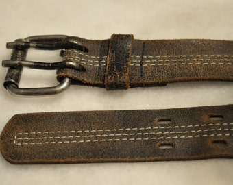 Genuine Brown Leather Belt with Tan Stitching