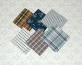 Vintage Navy Floral Stripe Check Fabric Quilt 4x4 Squares 48pcs