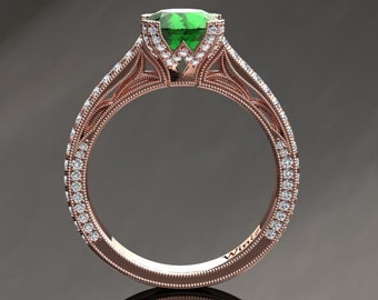 Emerald Engagement Ring Emerald Ring 14k or 18k Rose Gold Matching Wedding Band Available SW9GBR