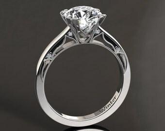 Moissanite Engagement Ring Moissanite Ring 14k or 18k White Gold Matching Wedding Band Available W22MOISW
