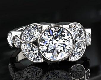 White Gold Moissanite Engagement Ring Forever One Moissanite In 14k or 18k White Gold. Style Number W16MOISW
