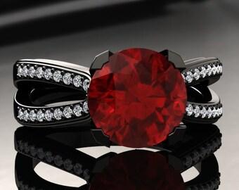 Ruby Engagement Ring Ruby Ring 14k or 18k Black Gold SW7RUBYBK