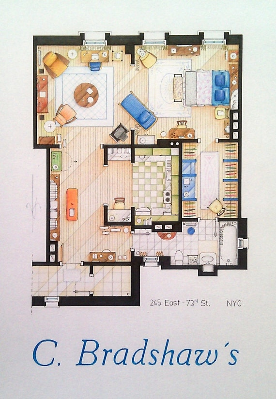 Carrie bradhsaw 39 s apartment from sex the city - Carrie bradshaw apartment layout ...
