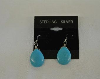 "Sterling Silver 925 Turquoise Tear Drop French Wire Earrings 1 1/2"" Long # 6035"
