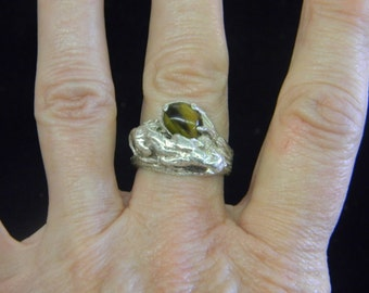 Sterling Silver 925 Tiger and Tiger Eye Ring size 7.5 #7088