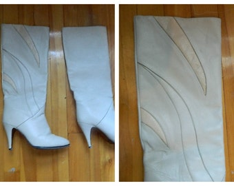 Vintage Off White Leather Knee Boots Size 8