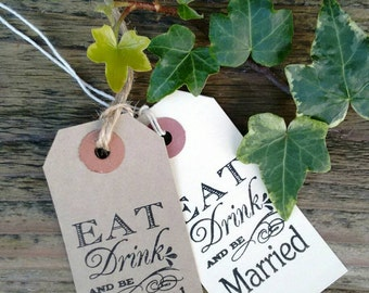 100  cream or manilla 'Eat,drink and be married' tags,wish tree,favours/favors, place names