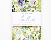 Violet Blooms - Watercolor Tea Towel