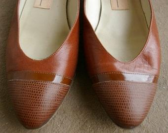 Vintage Brown Italian Leather Heels- Size 5.5- 70's- Low Heel- Genuine Italian Leather