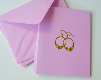 Pink Note Cards with envelopes - Gold earring design embossed on front