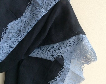 BLACK and ZINC BLUE lace,  Scarf, Shawl  /  S - 18