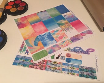 Watercolor weekly kit for erin condren life planner, ec watercolor stickers