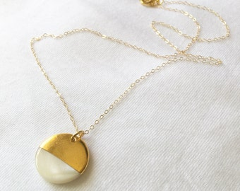 Gold Circle Shell Necklace