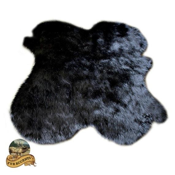 Shag Rug Sheepskin Black Faux Fur New Pelt Bear By FurAccents