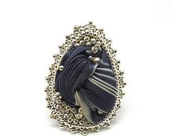 Grey silk Shibori Ribbon ring