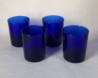 4x Reims Cobalt Blue Glasses, France, Tumblers. Water
