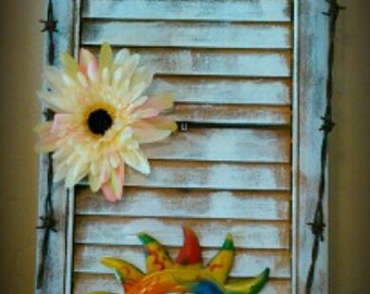 Rustic hand painted shutter, Hippie hand painted shutter, Vintage hand painted shutter, celestial hand painted shutter