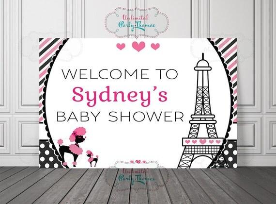 Paris Baby Shower Backdrop Printed Parisian Poster Cake Table