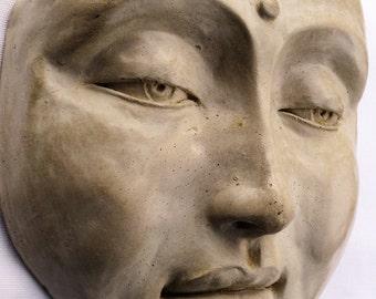 Buddha Face, a Tranquil Zen Garden Sculpture, Cast Stone Outdoor Decor