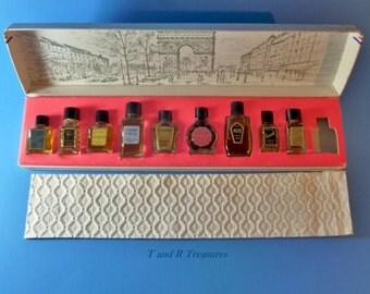 Vintage Grands Parfums De France  Box Set 9 miniature full bottles