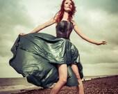 Latex SAMPLE SALE- strapless Bodice and Long assymetric skirt custom made latex corset metallic blue/teal