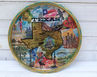 Texas Round Lone Star State Tray Vintage Collectible (053)