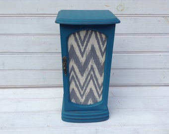 SALE! Teal Blue Jewelry Box with Gray Chevron / Shabby Chic / Jewelry Storage / Bedroom / Upcycled (C053.1)