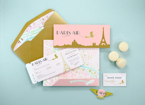 Paris theme boarding pass invitation french airline ticket il570xn filmwisefo