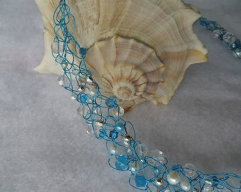 "Pacific Paradise"" Crochet Wire Necklace"