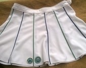 Vintage Maggia Tennis Skirt White Short Skirt Green and Blue Trim Made in Italy Medium Size Tennis or Golf Player