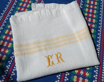 Antique White French Dish Cloth 1930's Monogrammed Waffle Cotton with Yellow Stripes #sophieladydeparis