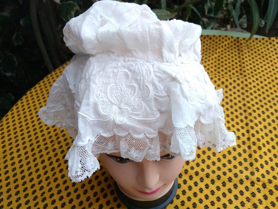 Victorian Mob Cap Ruffled Hand Embroidered Lace Inlays Handmade French White Cotton Hat Clothing for Costumes #sophieladydeparis
