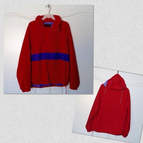 vintage pullover half zip windbreaker jacket red purple color. Black Bedroom Furniture Sets. Home Design Ideas