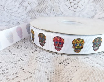 Skull ribbon sugar skull grosgrain ribbon 7/8 skull printed Grosgrain ribbon