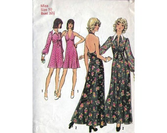 Simplicity 70s sewing patterns 5561, halter dress and jacket, halterneck, Bust 32.5 inches