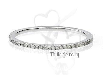 Platinum Eternity Wedding Rings, Super Thin Womens Wedding Rings, Micro Pave Setting Half Way Stackable Diamond Wedding Bands,Matching Ring