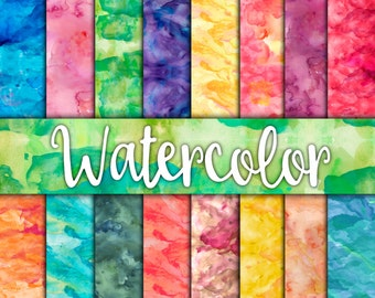 WaterColor Digital Paper Textures - Watercolor Backgrounds - 16 Designs - 12in x 12in - Commercial Use - Instant Download