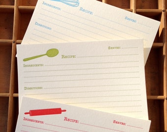 Set of 12 Letterpress Recipe Cards: whisk, spoon, rolling pin