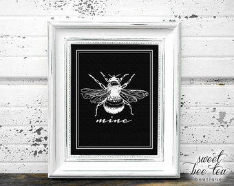 Valentine's Day Wall Art - February - LOVE - Bee Mine - Pink and  White - Printable - Digital File