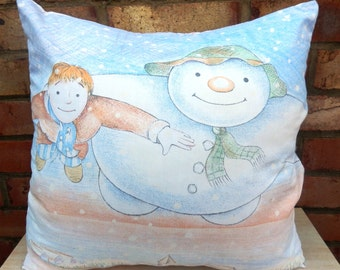 The Snowman Raymond Briggs  Vintage Fabric Christmas Cushion Selection - Handmade by Alien Couture
