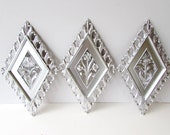 3 Piece Refurbished Vintage Wall Hangings - 3 Diamond Floral Plaques - Chrome Paint - Metallic Silver Paint - Dart Industries 1964