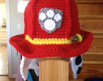 Crocheted toddler paw patrol Marshall Inspired Hat